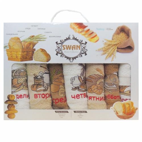 Неделька Swan / Кухонные махровые полотенца-салфетки, 7 шт. 30*50 см