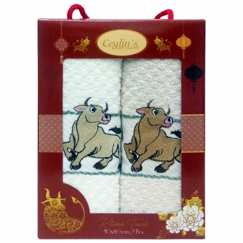 Бык Vianna / Махровые полотенца-салфетки в коробке, 2 шт., 40*60 см