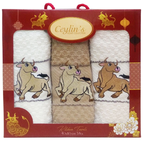 Бык Vianna / Махровые полотенца-салфетки в коробке, 3 шт., 40*60 см