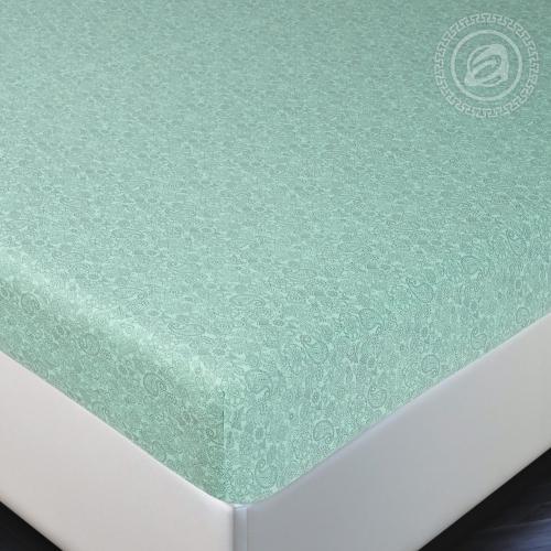 Ажур зелёный / Простыня на резинке, 160*200 см