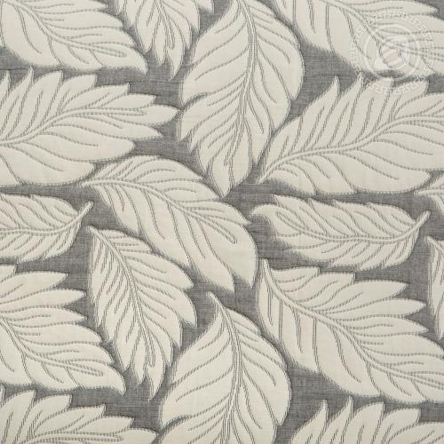 Флора серая / Покрывало хлопковое жаккардовое, 180*235 см