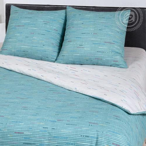 Колорит бирюза / Комплект 2-спальный с простынёй Евро