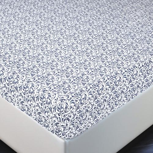 Завиток белый / Простыня трикотажная на резинке, 160*200 см